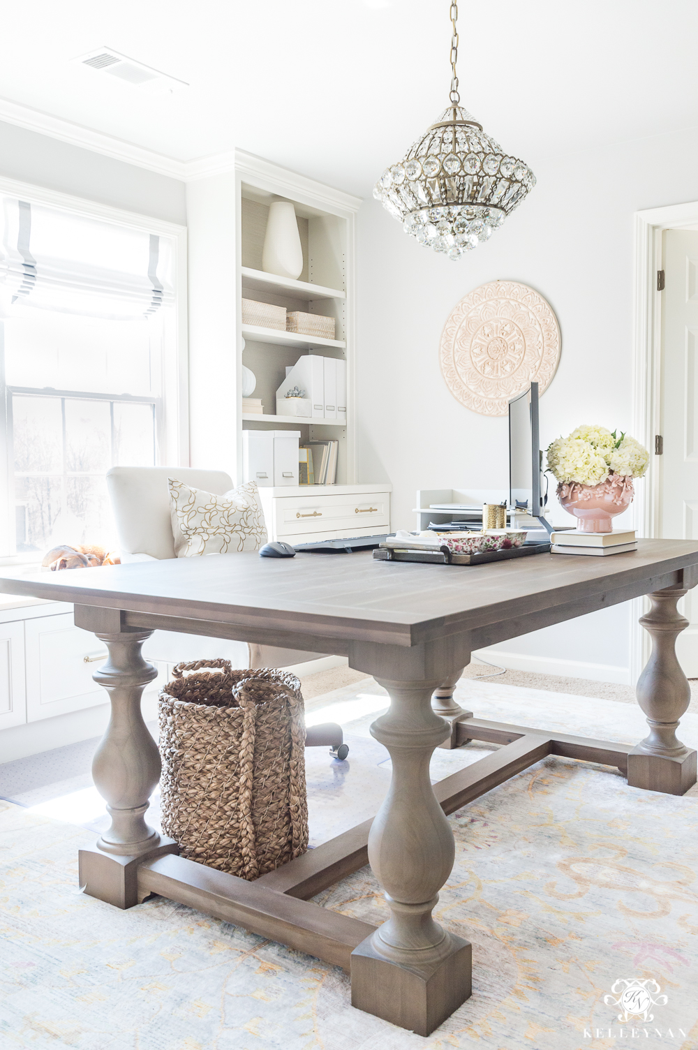 Home Office with Table for Desk and Chandelier - Kelley Nan