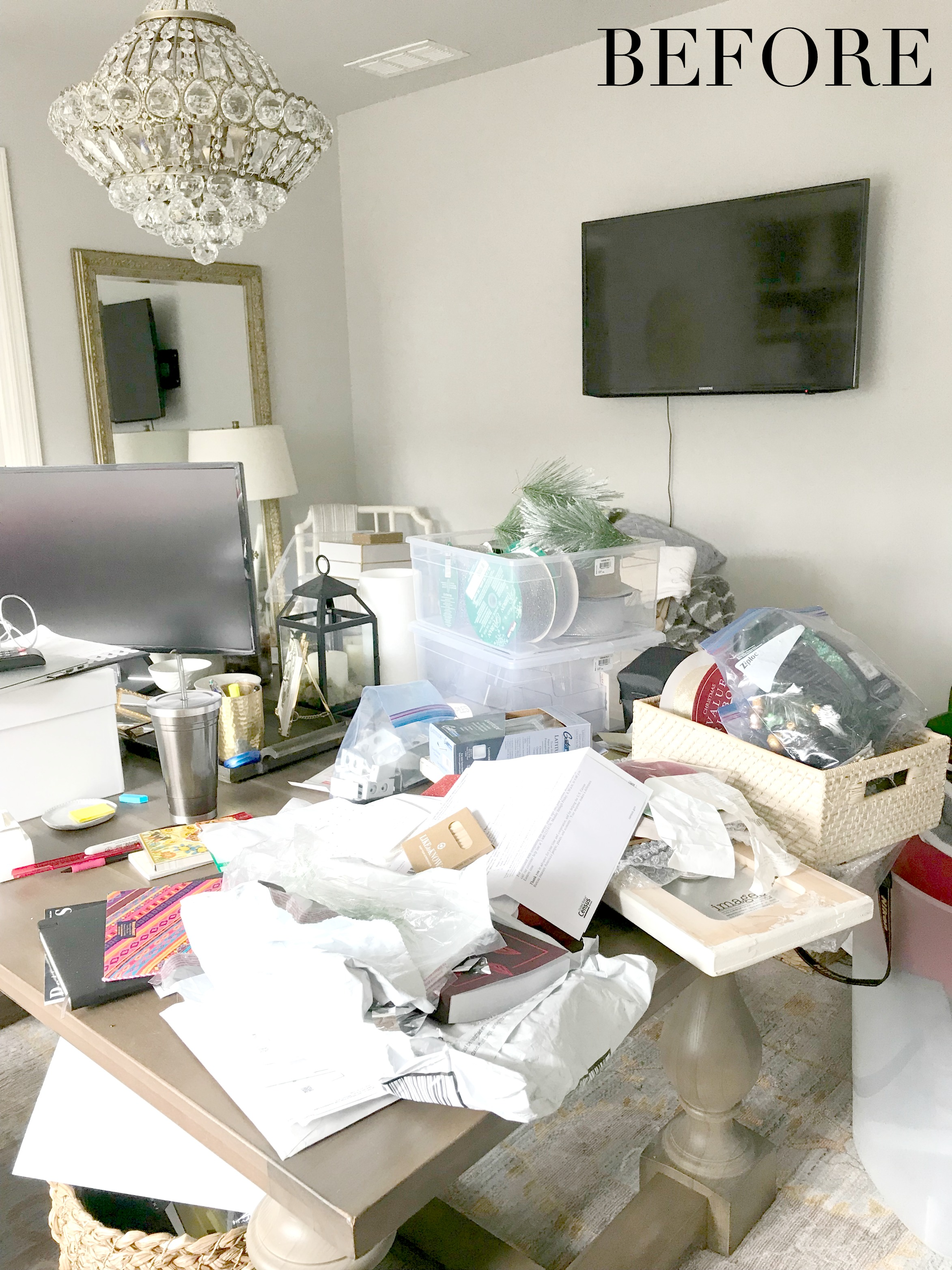 Messy office before cleaning