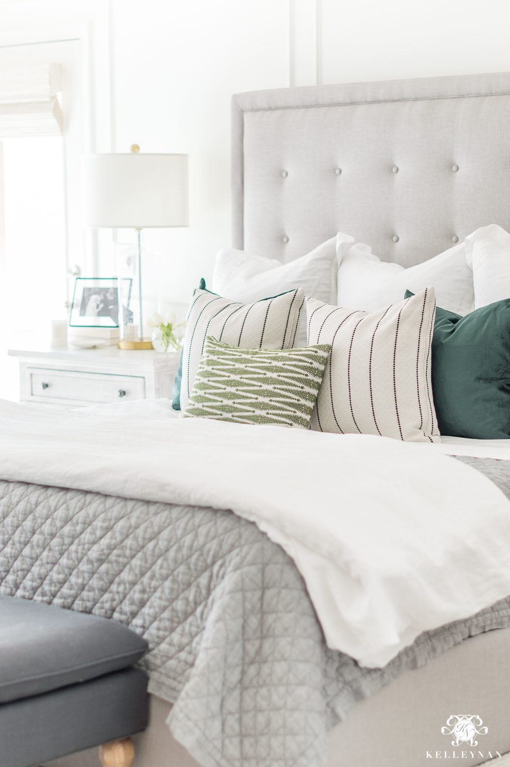 Master Bedroom Bedding Ideas with White, Gray, and Green