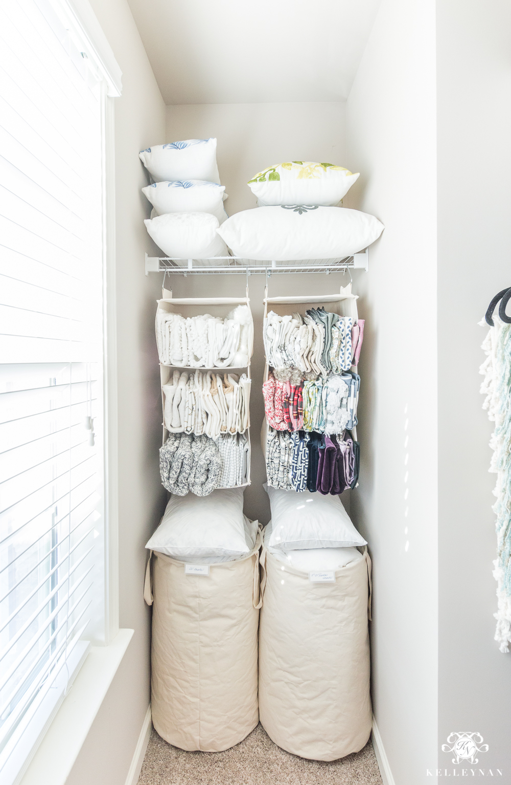 Throw pillow insert and cover organization in closet nook