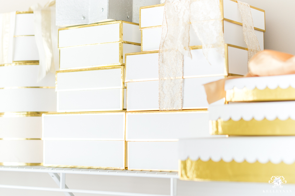 Sugar Paper gold and white gift boxes organized
