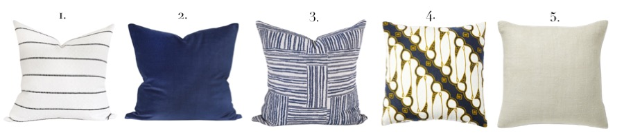 Mixing Blue and Neutral Pillow Patterns
