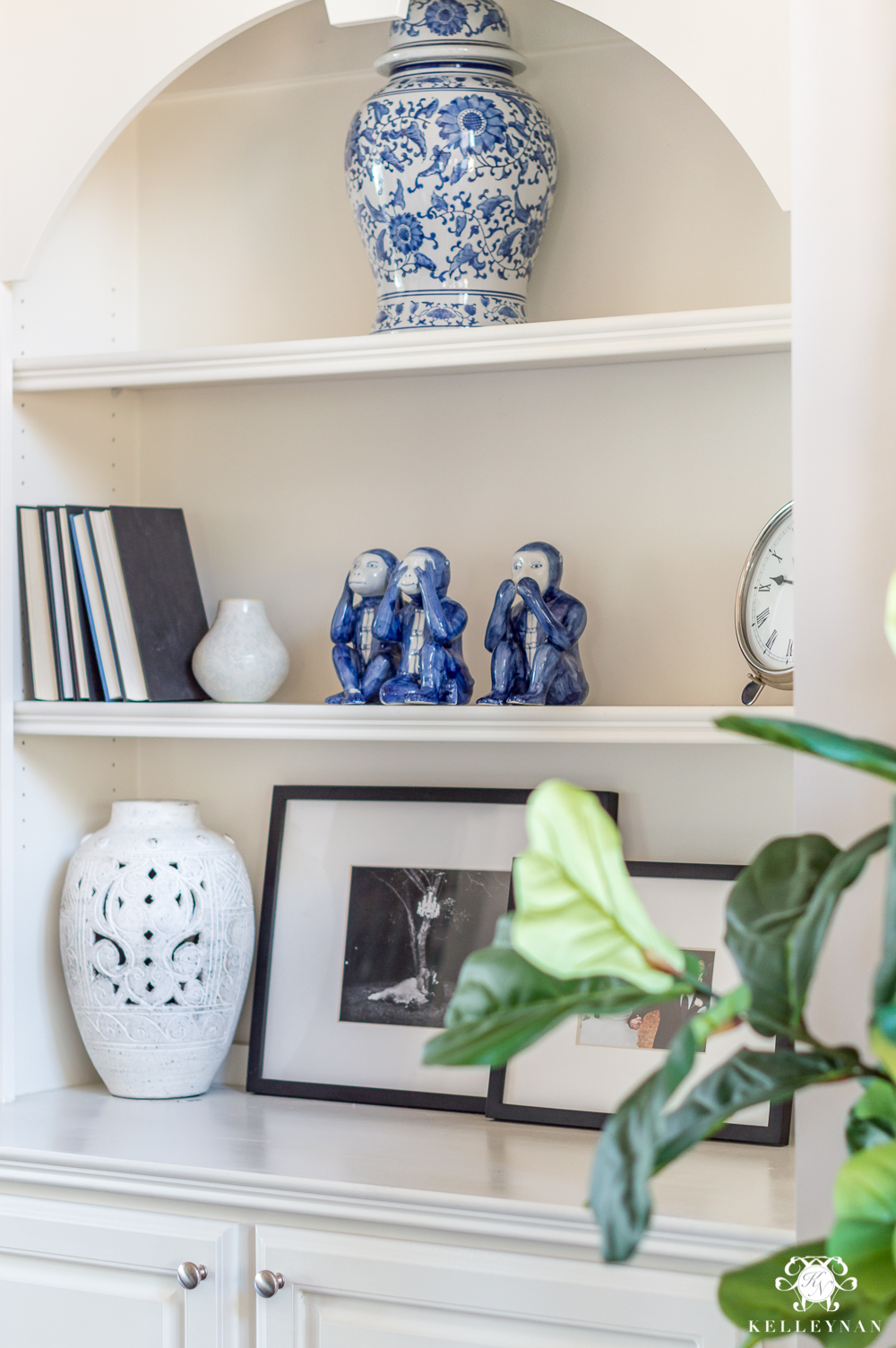 Blue and White Shelf Styling Ideas