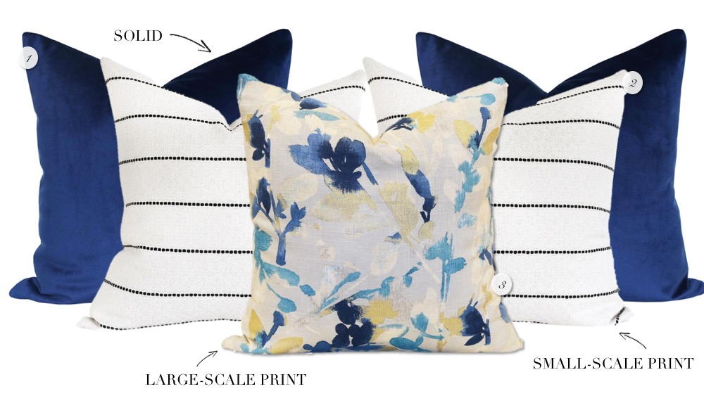 Mixing throw pillow patterns and prints