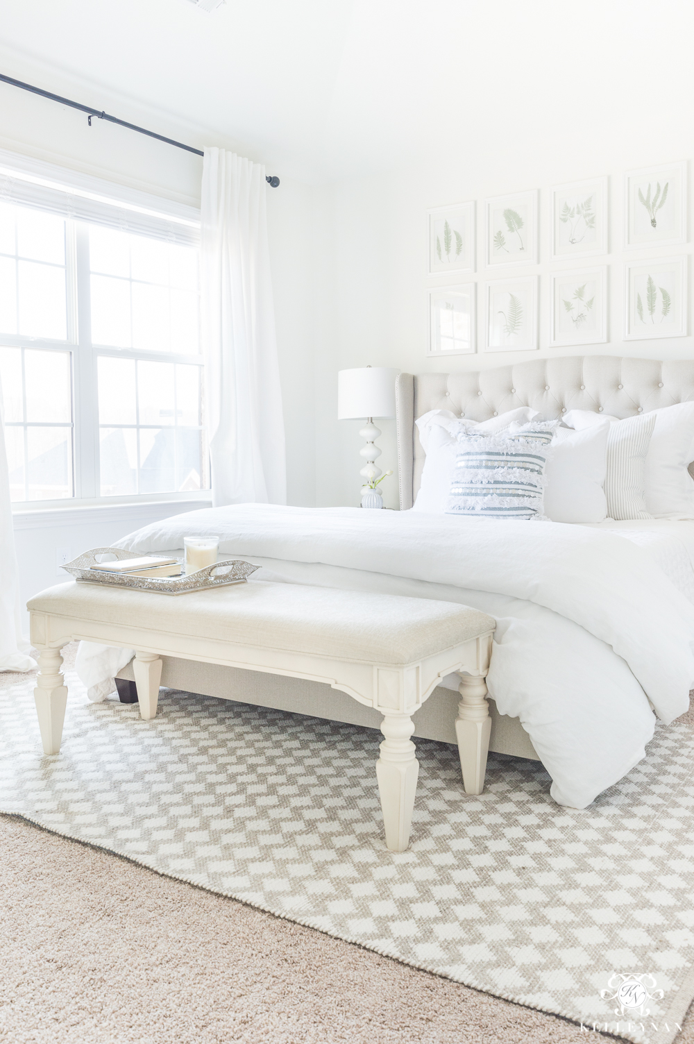 White Guest Bedroom with Gallery Wall Above Bed