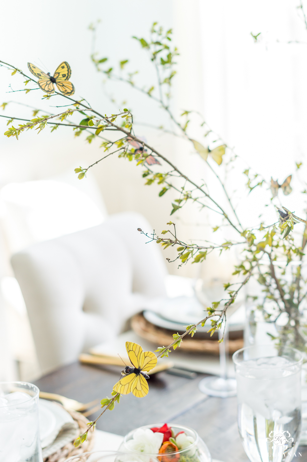 Spring butterfly centerpiece with whimsical branches