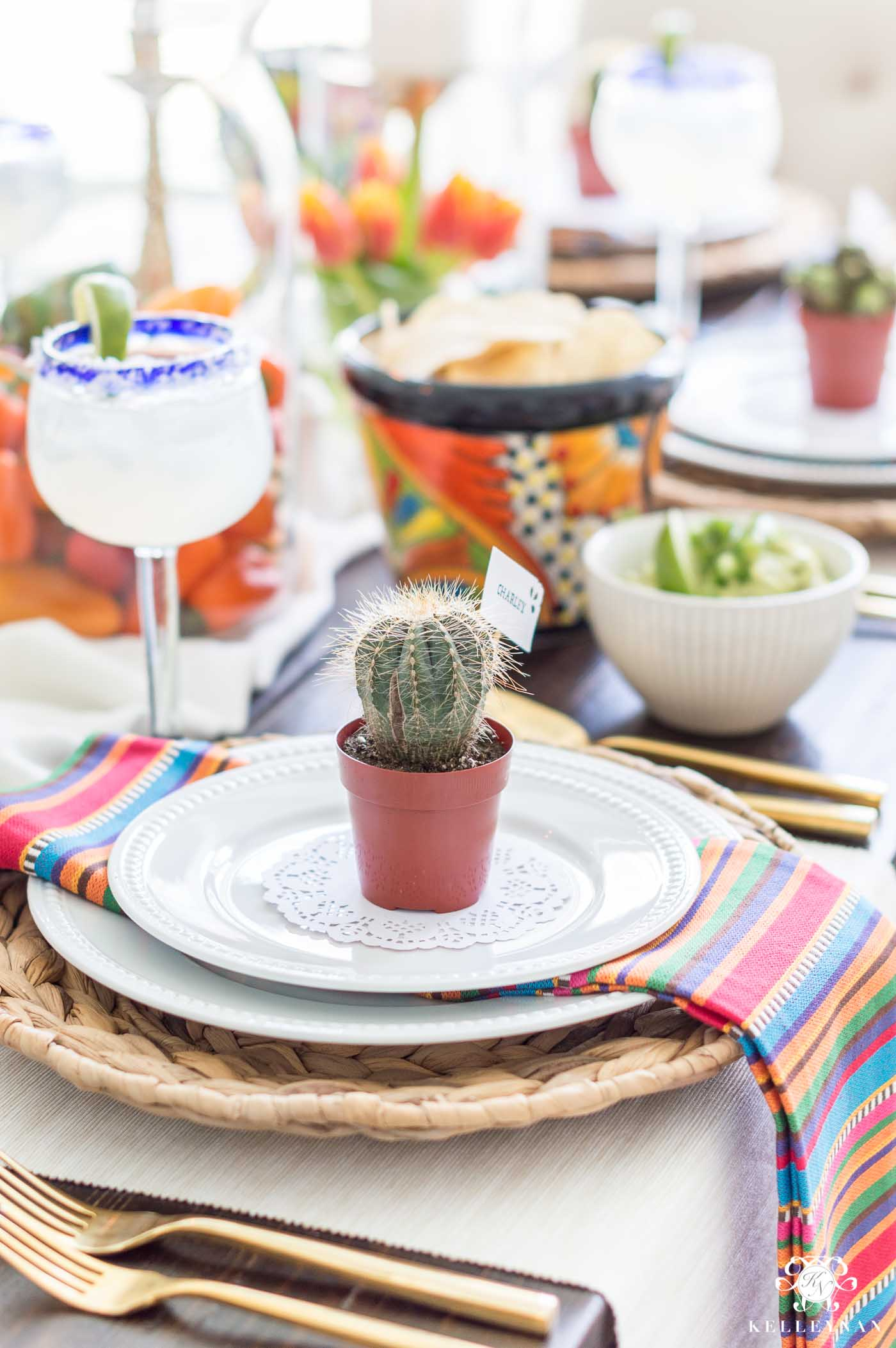 Colorful Table Decorations for Mexican Fiesta Party