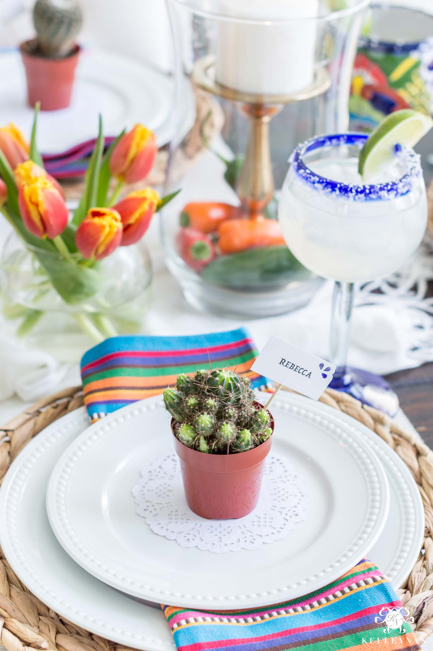 Mini cactus place setting centerpiece for Cinco de Mayo