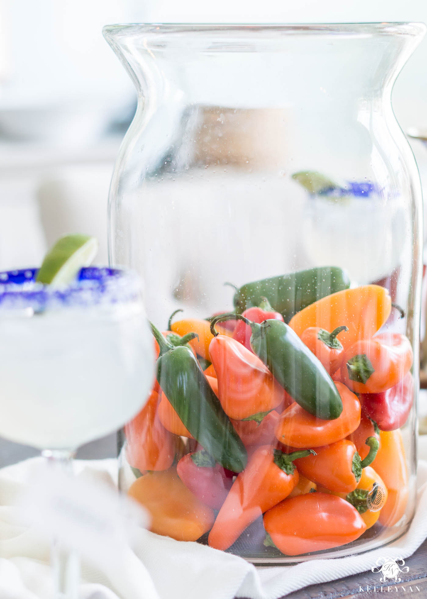 Vase of Peppers for Mexican Fiesta Centerpiece