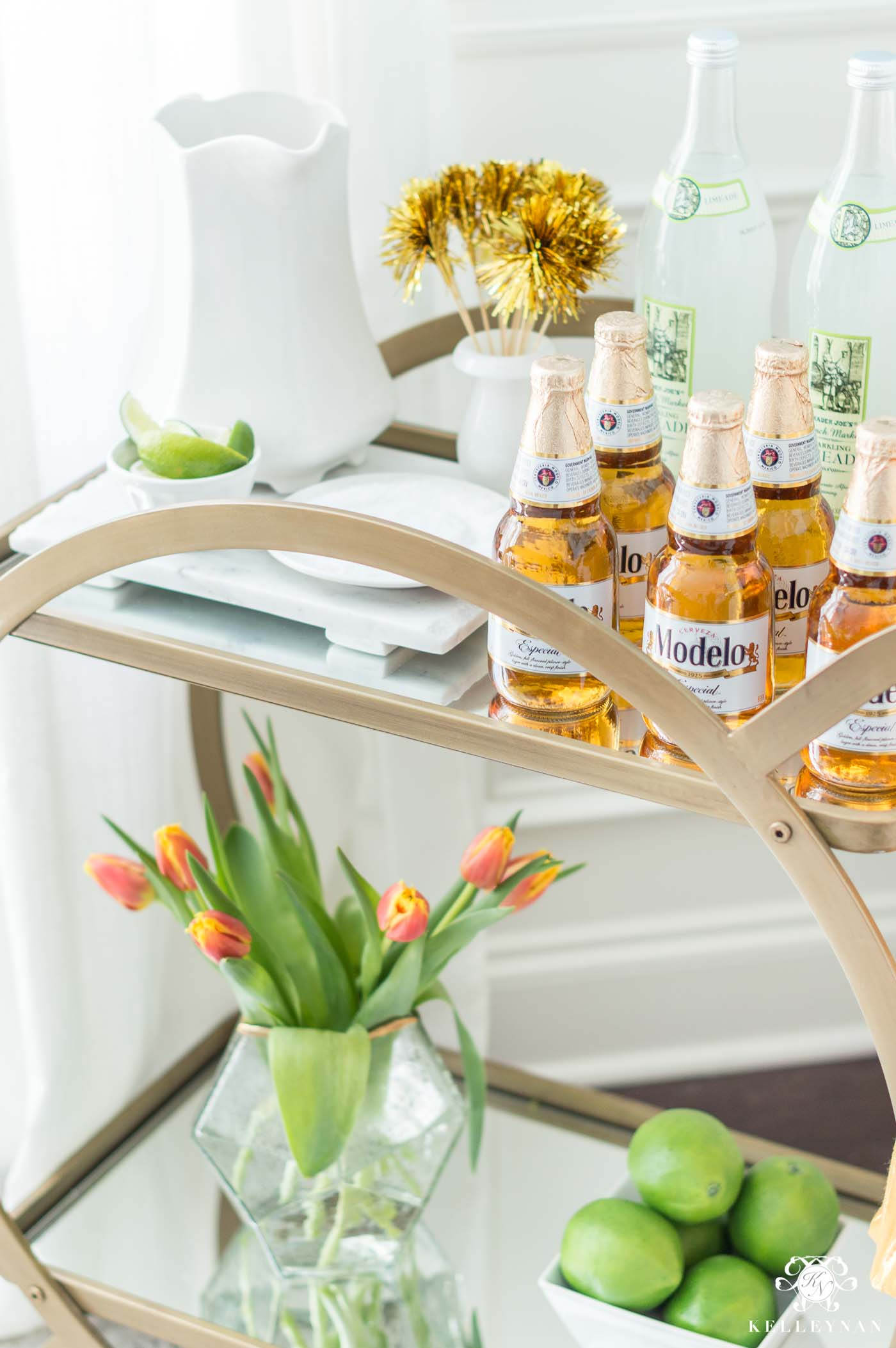 Mexican Bar Cart for Cinco de mayo with Flowers and Limes