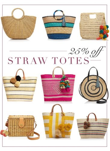 On Sale Spring to Summer Straw Totes – Plus, a Few Spring Outfits!