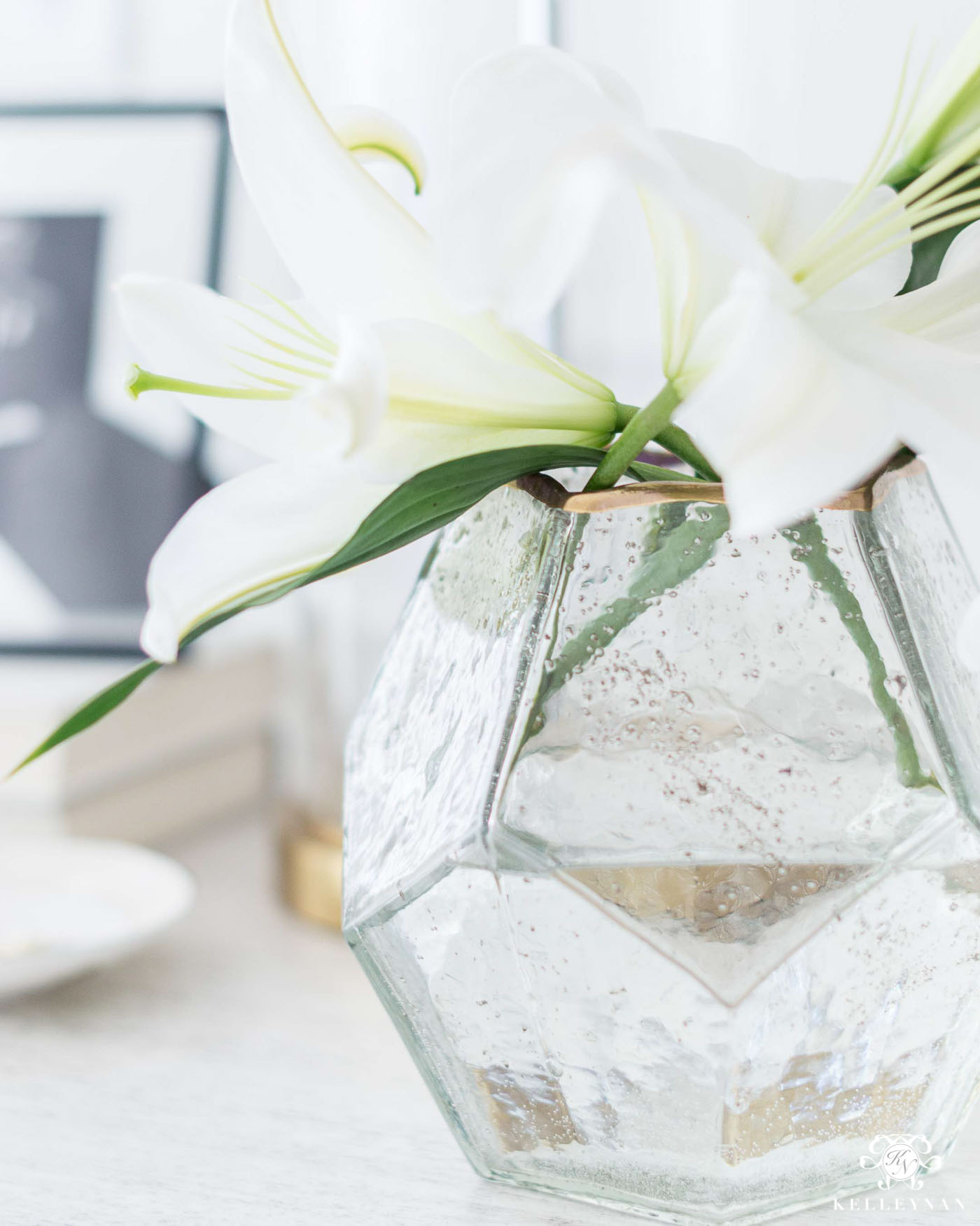 Pretty Glass Vase with Metallic Gold Rim with Flowers