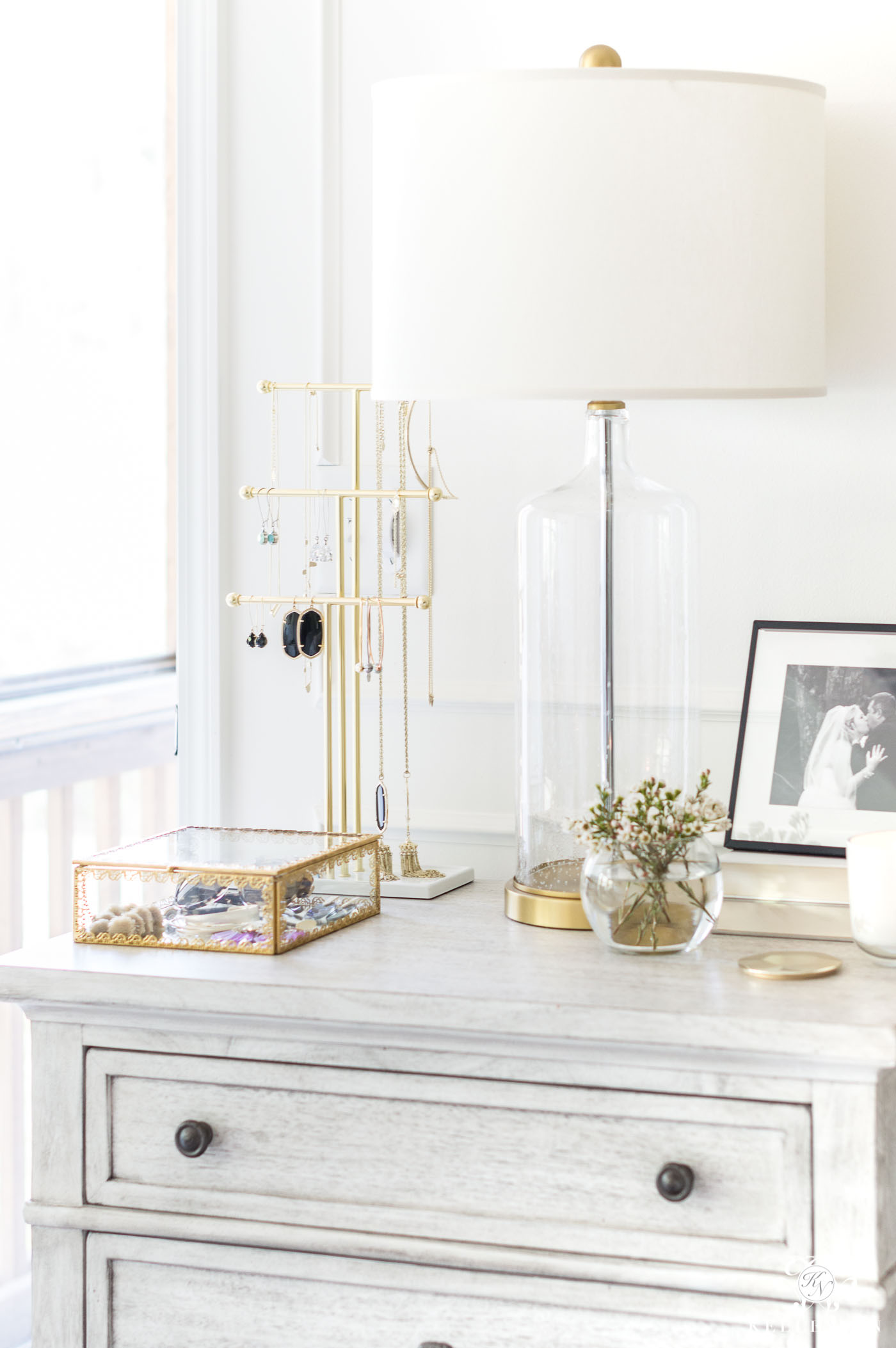 Styling a nightstand with jewelry