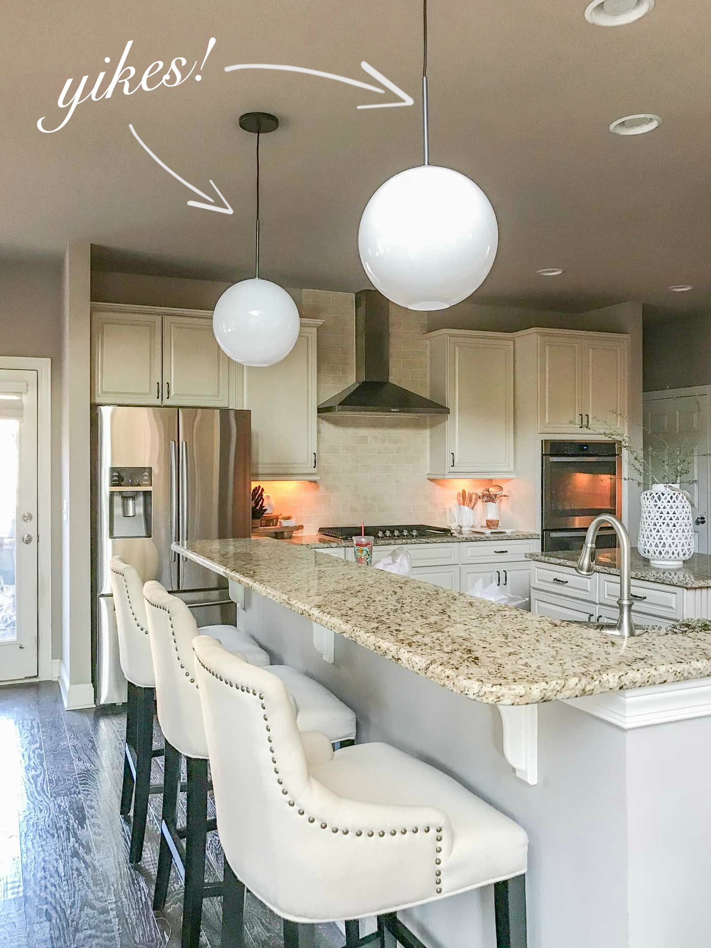 West Elm Milk Glass Pendants in Kitchen