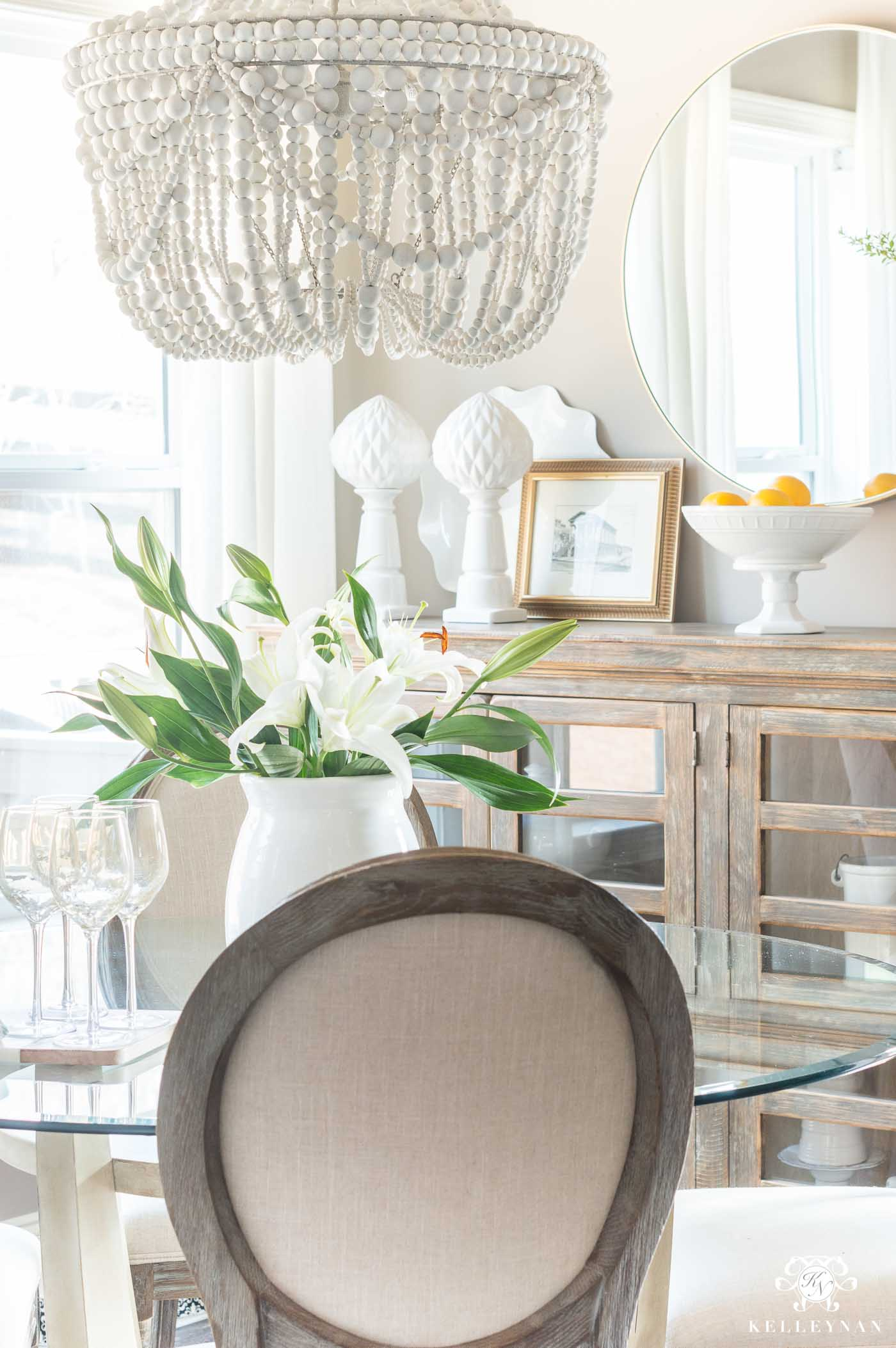 Francesca Wood Bead Chandelier Over Glass Table