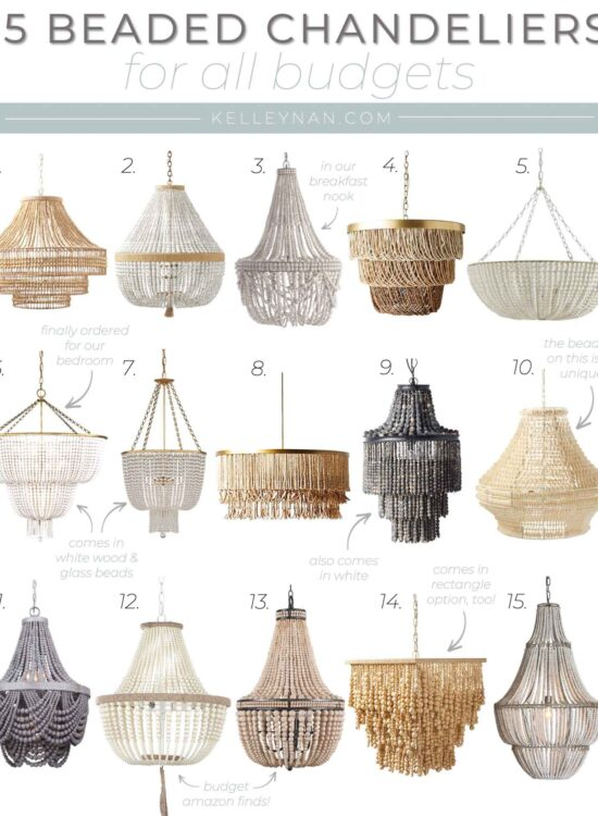 Pretty Beaded Chandeliers for Almost Every Budget! From Glass to Wood Bead Chandeliers & Statement Pendant Light Fixtures