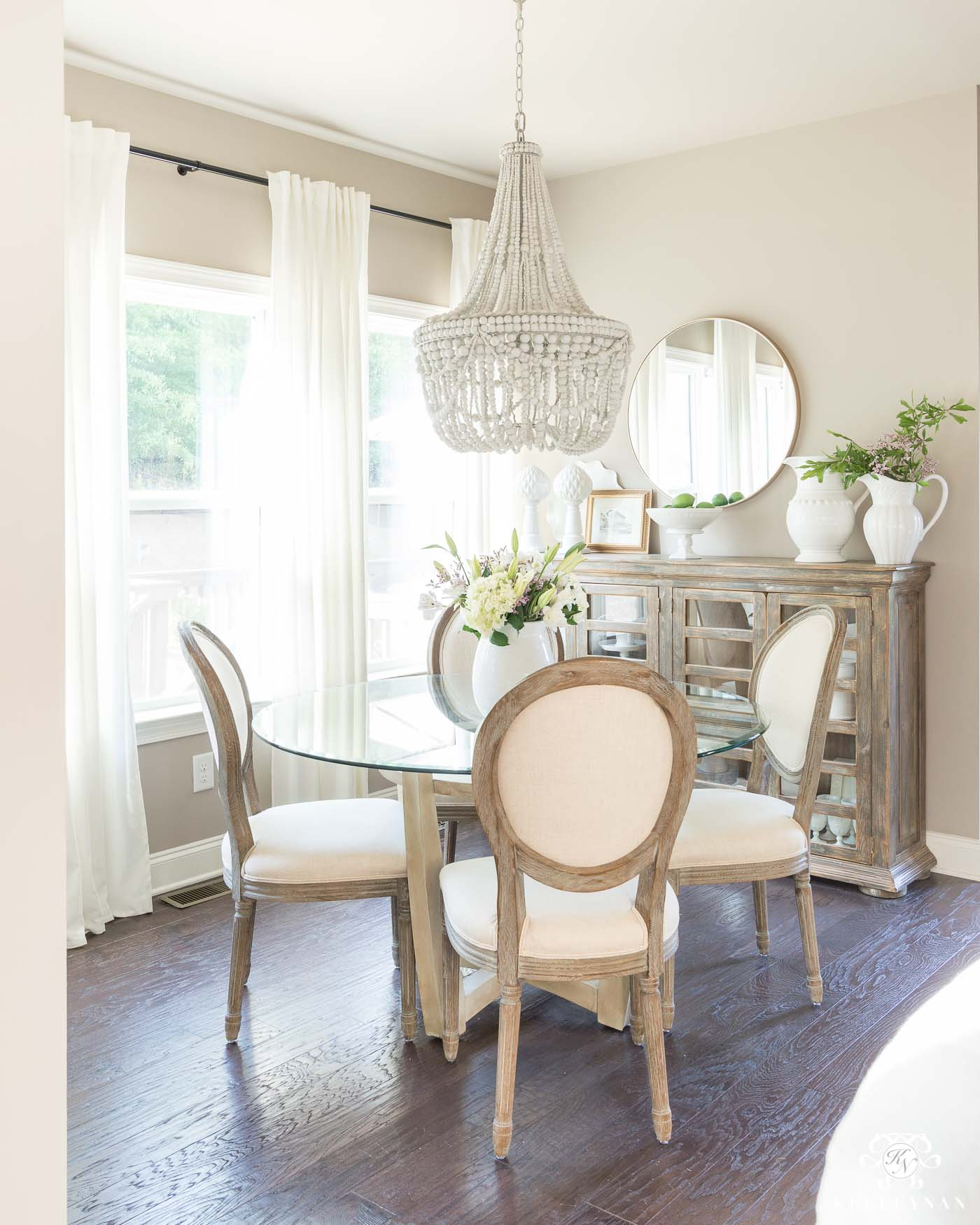 Breakfast Room Design Ideas with Wooden Beaded Chandelier