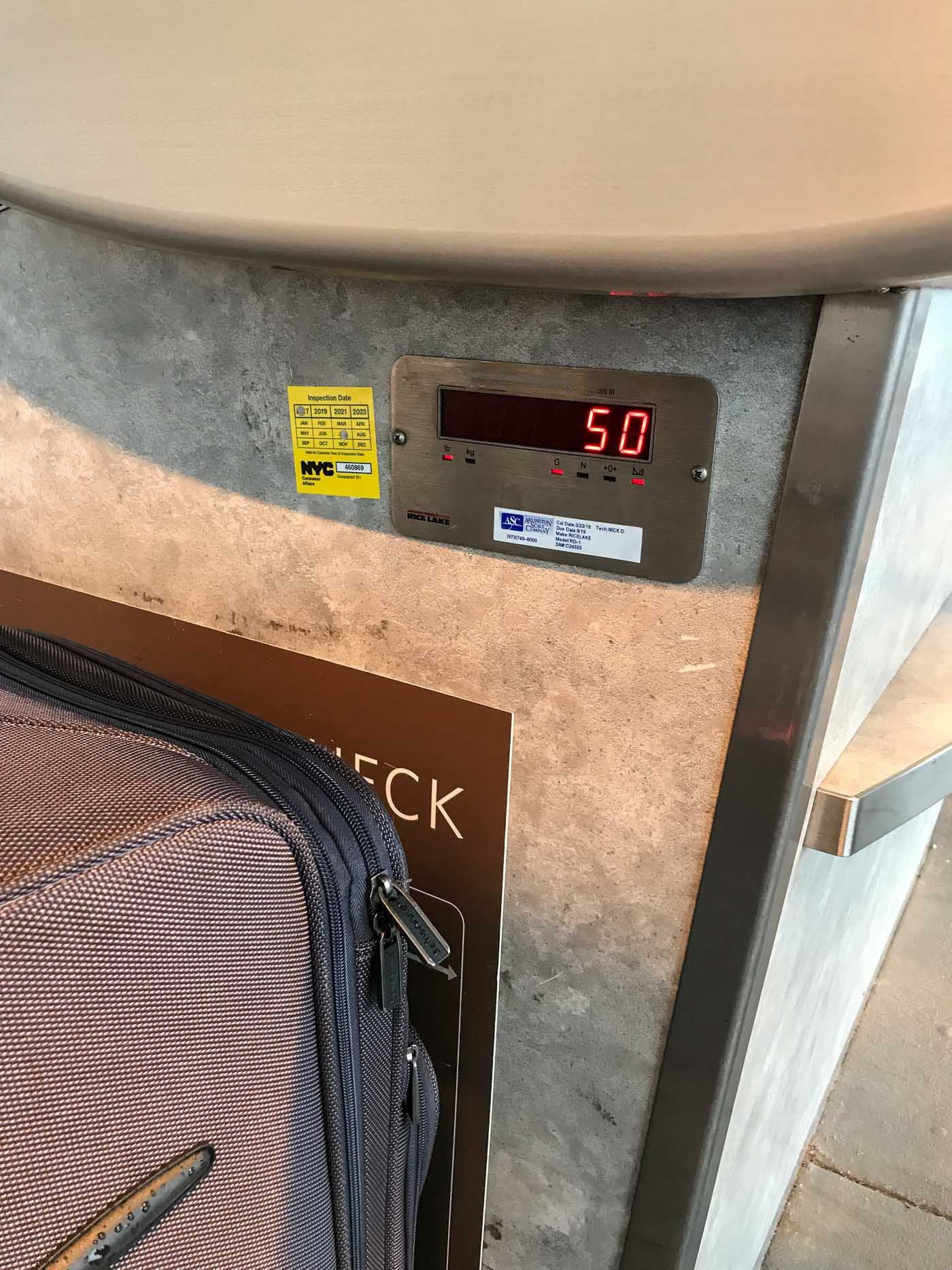 Baggage weight of 50