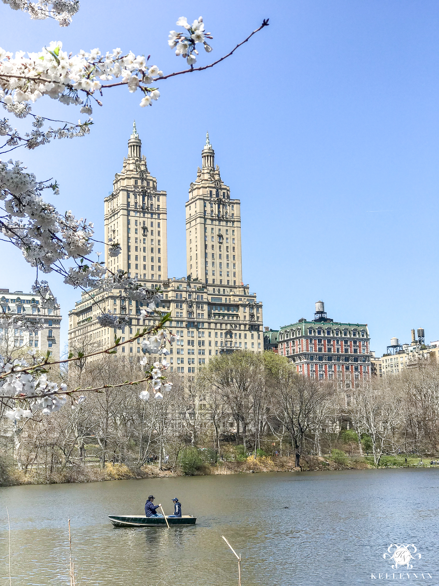 Central Park views in NYC with lake and paddle boats