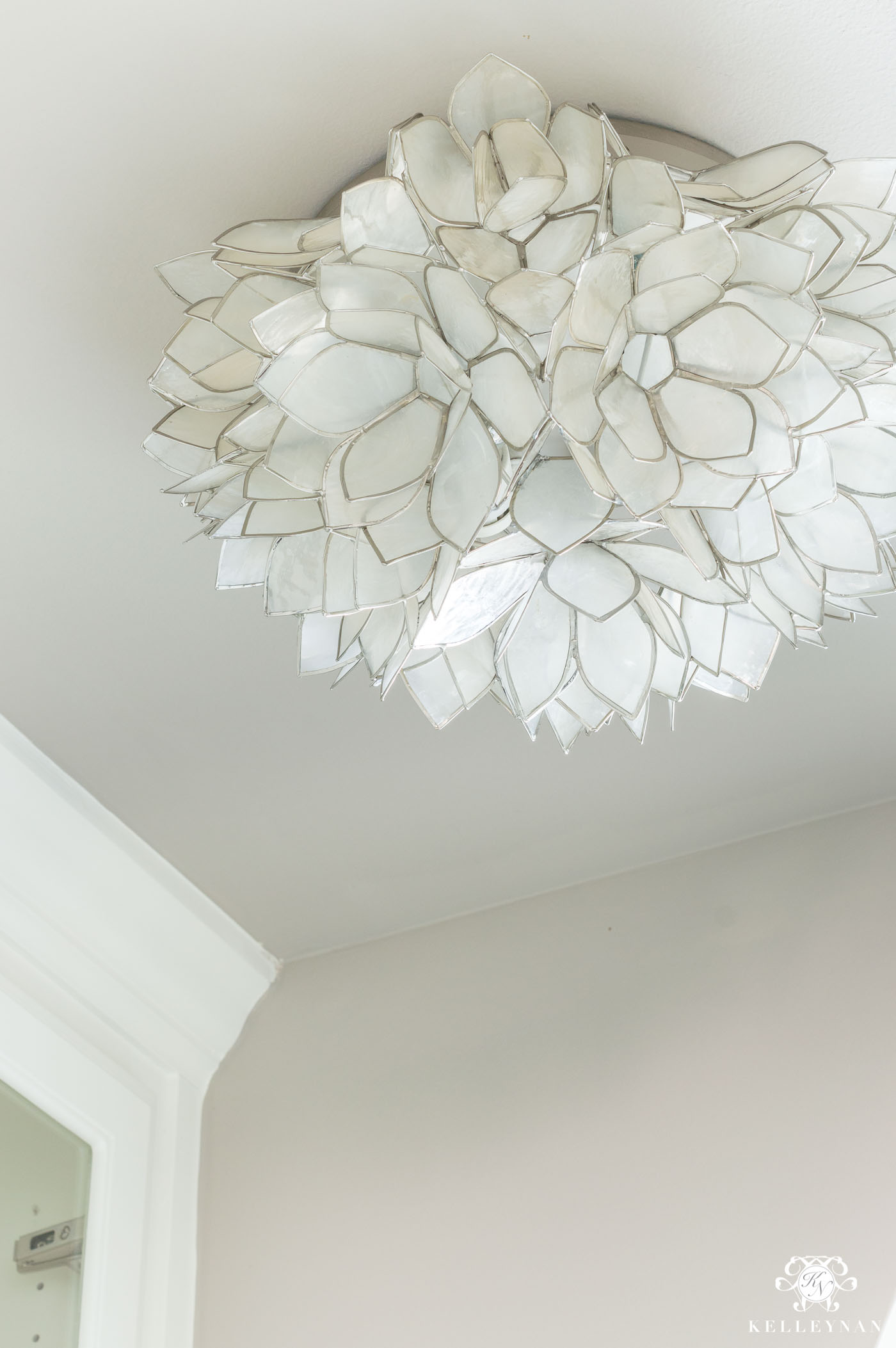 Neutral, pretty flush mount lighting with capiz shell