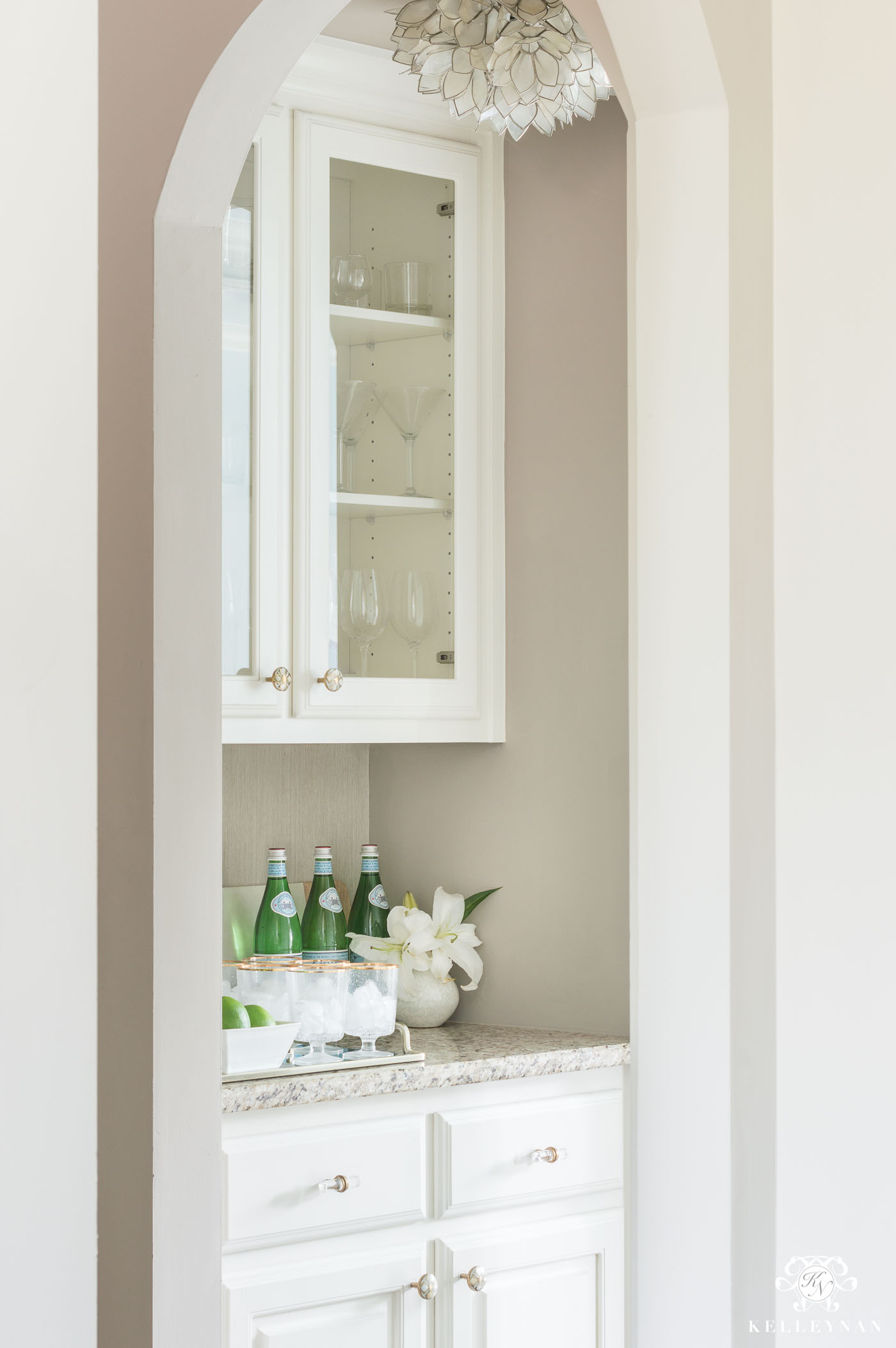 Small Butler's Pantry Design with Glass Cabinet Doors