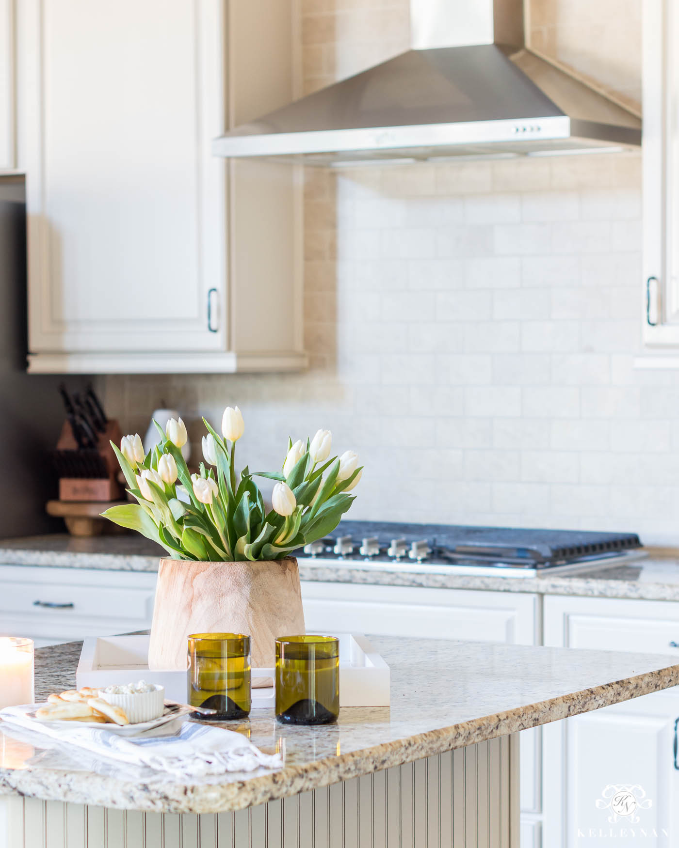 Kitchen Island Styling Tips and Ideas with Wooden Planter for Flowers