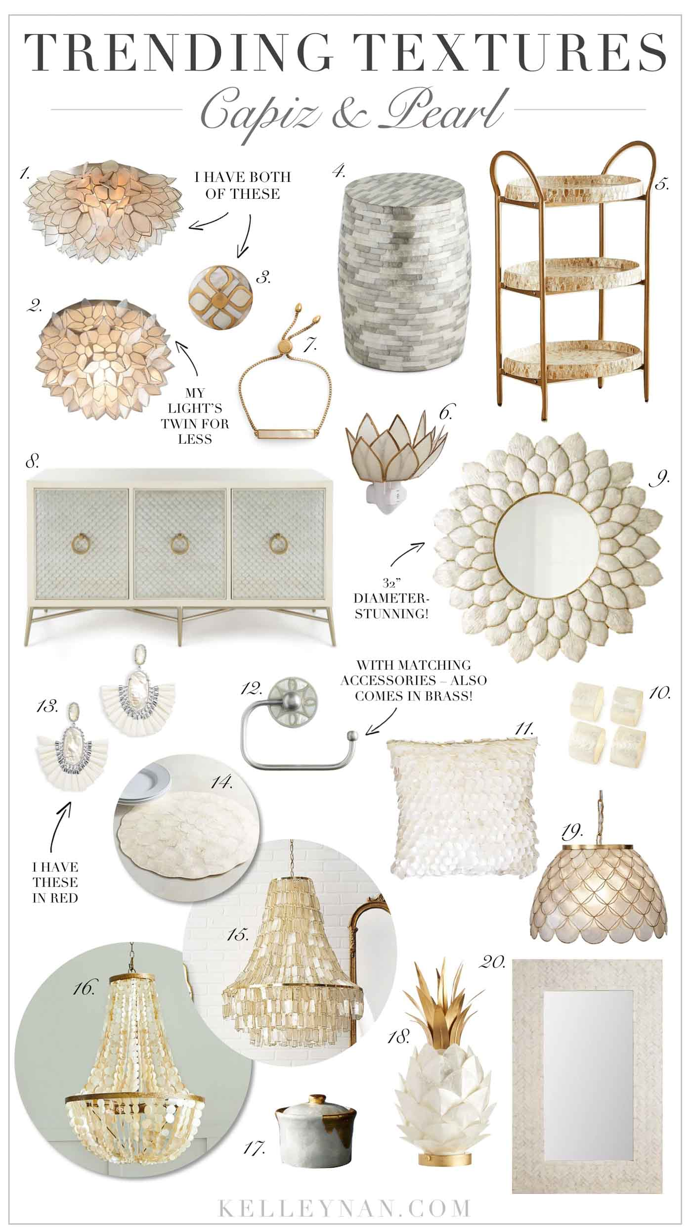 Capiz and pearl home decor, from lighting to furniture and accessories