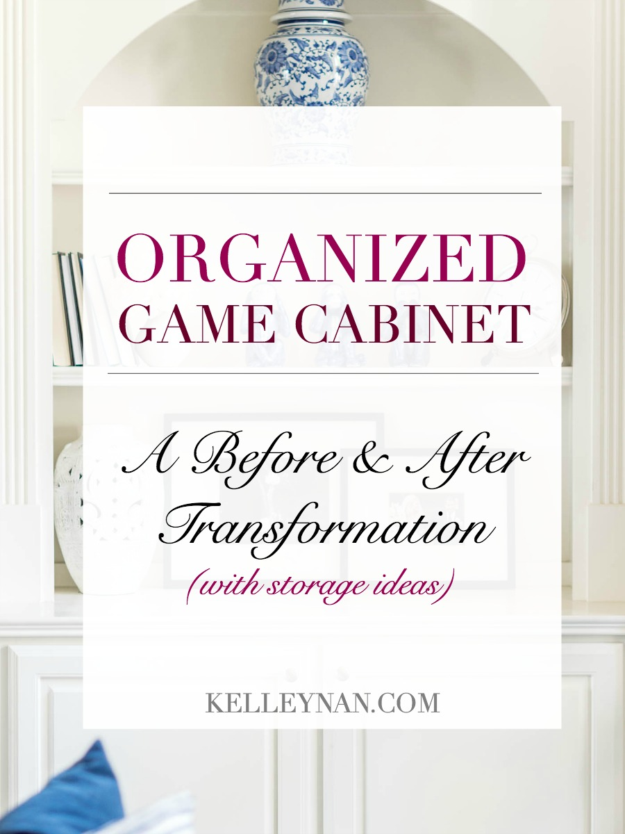 Organized Game Cabinet with Playing Cards and Game Organization Ideas