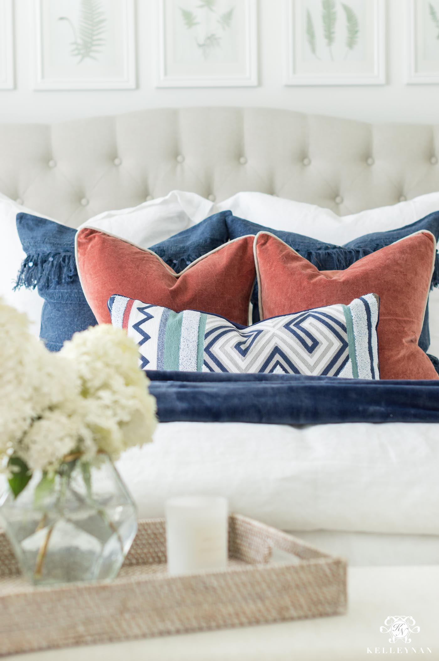 Favorite linen duvet and quilt from Pottery Barn and how to mix and match pillows with white bedding