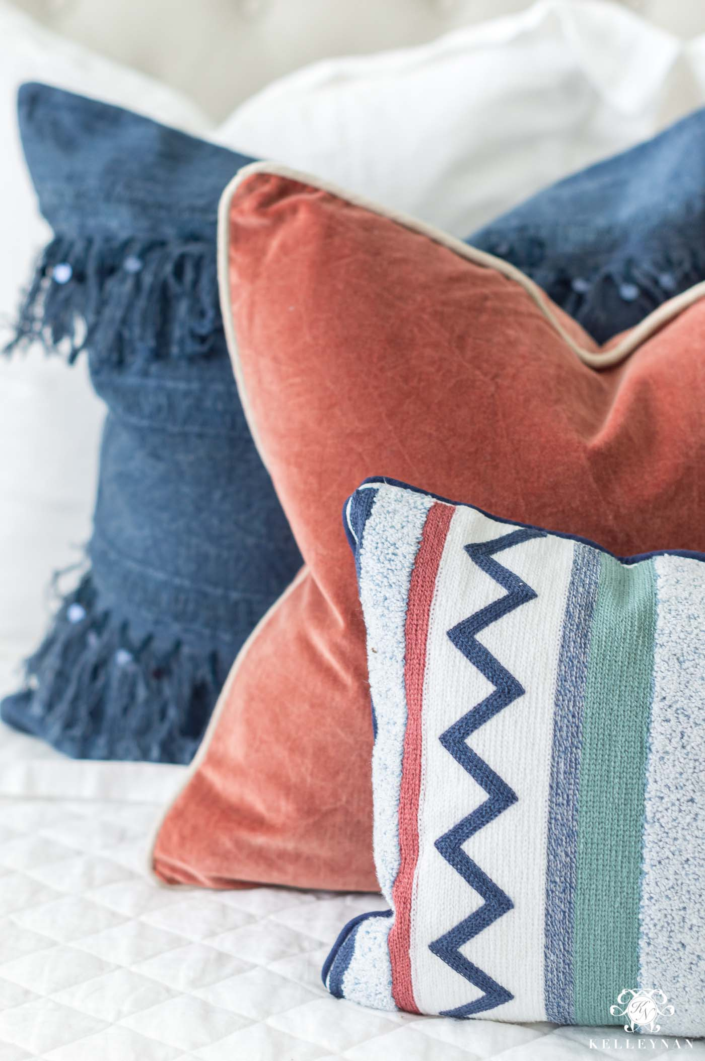 Blue, orange, and green pillow combinations