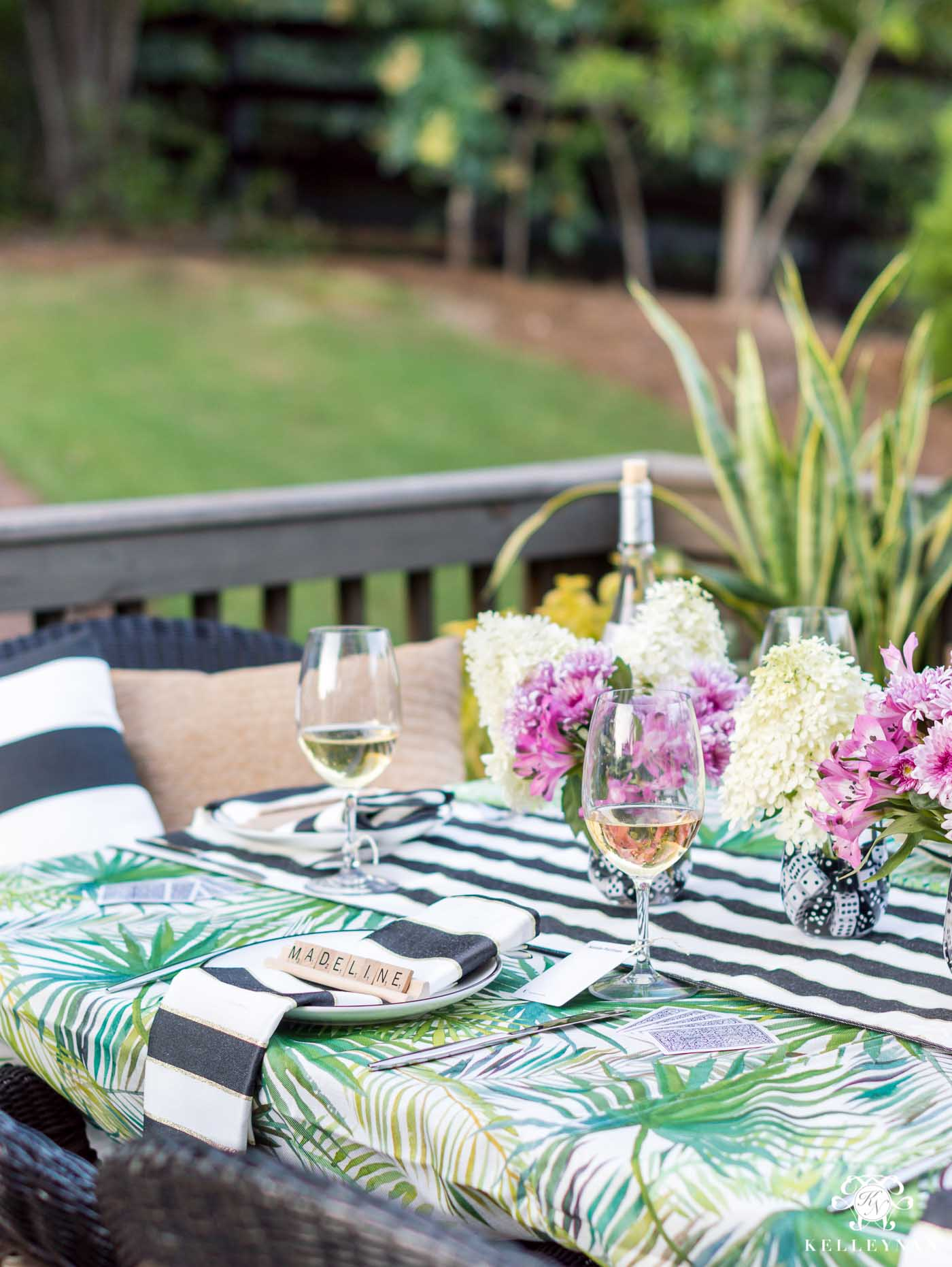 Outdoor dining for game night with lots of hosting ideas