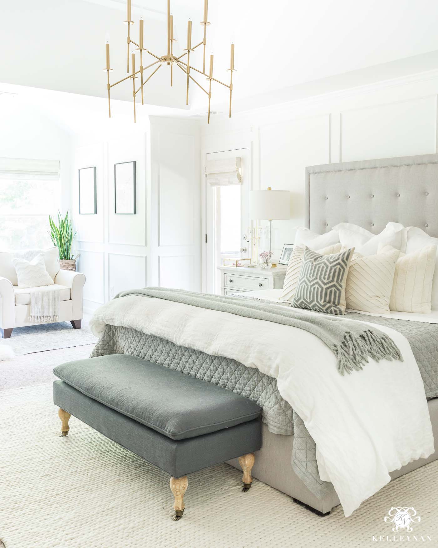 02b6ad0106 Neutral Master Bedroom with modern gray tufted bed and white simply white  benjamin moore walls