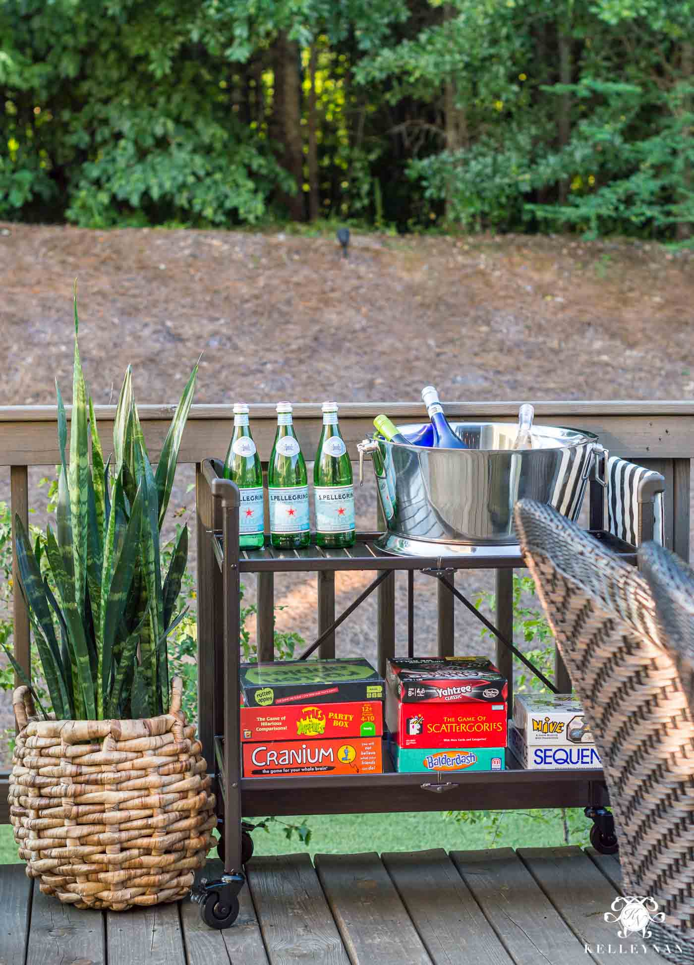Outdoor bar cart setup for summer game night