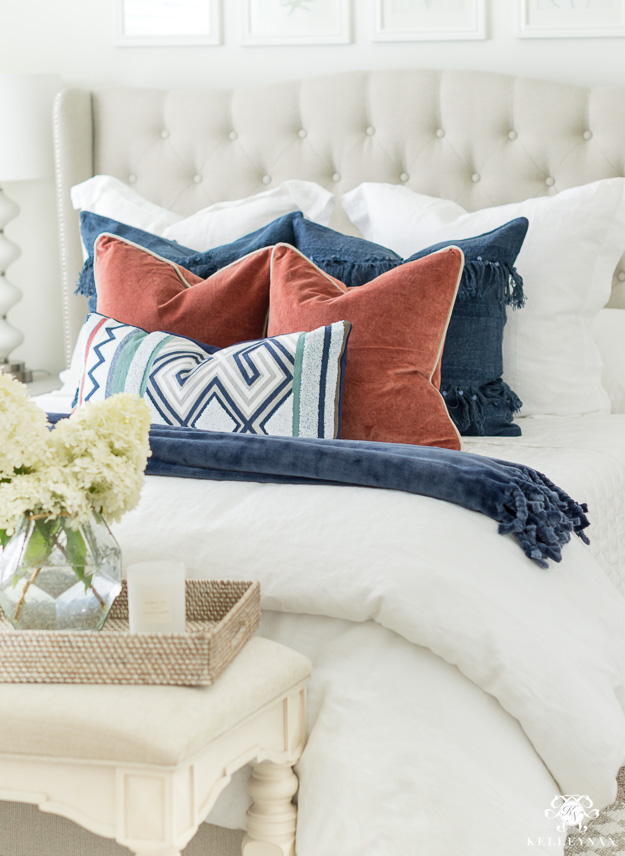 Pottery Barn Belgian Flax Diamond Quilt Midnight Blue Queen 2 Standard Sham Navy