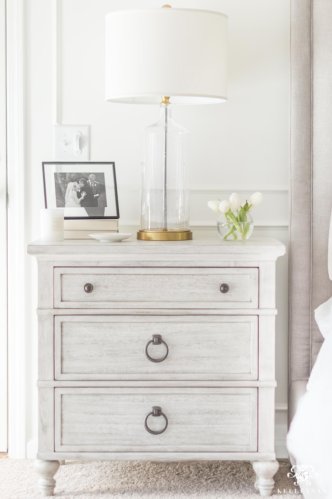 White washed night stands that will tie your bedroom furniture together