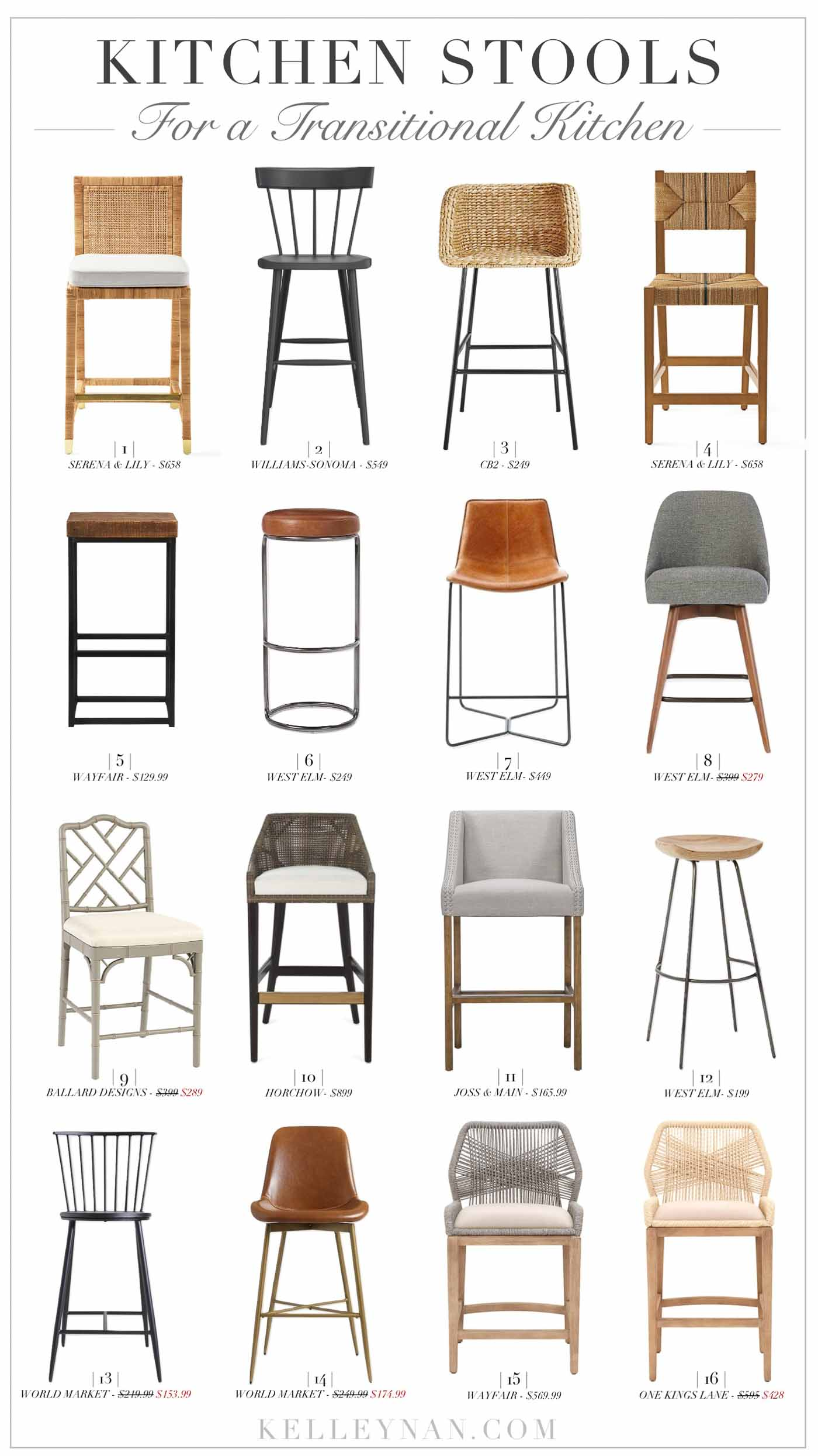 A round up of classic and modern bar and counter stools for a traditional modern and transitional kitchen - perfect for the island or bar area!