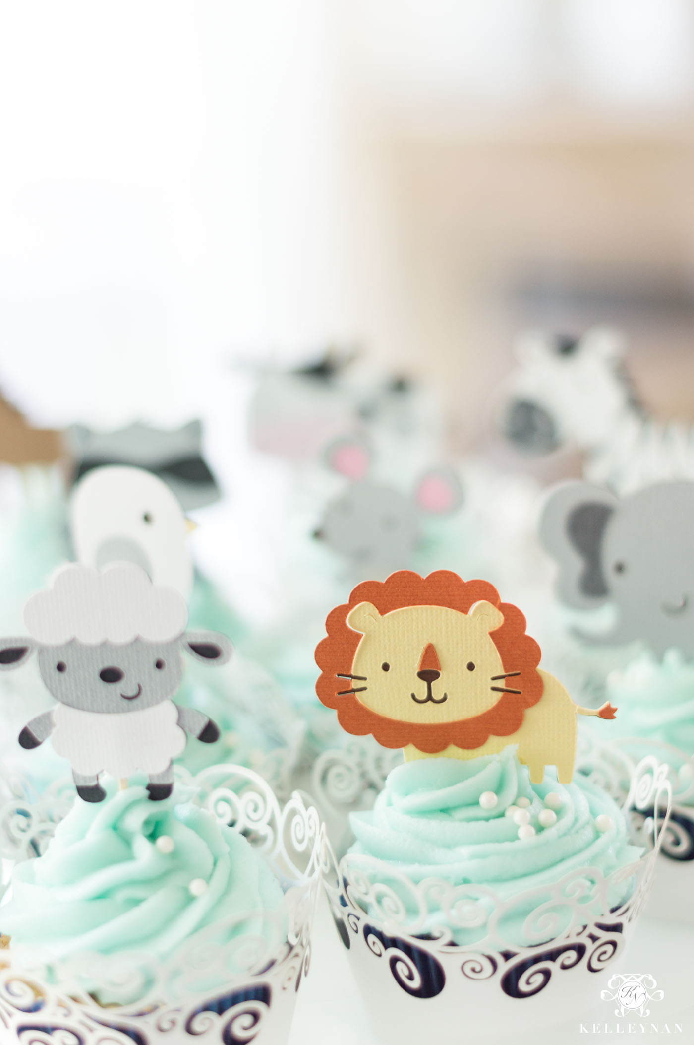 Animal Cupcakes for Noah's Ark Themed Twin Baby Shower