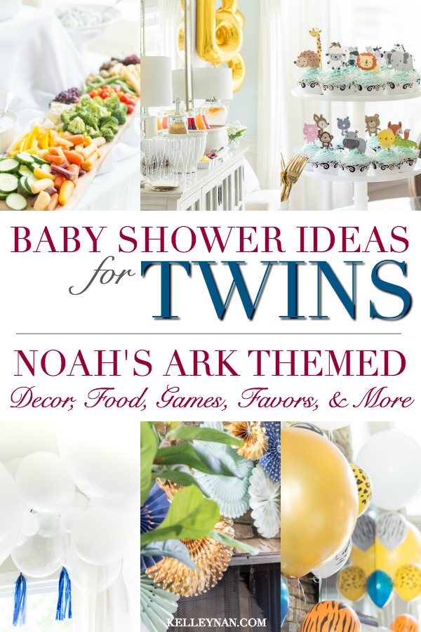 Easy Baby Shower Ideas for Twins - Animal Theme with Noah's Ark