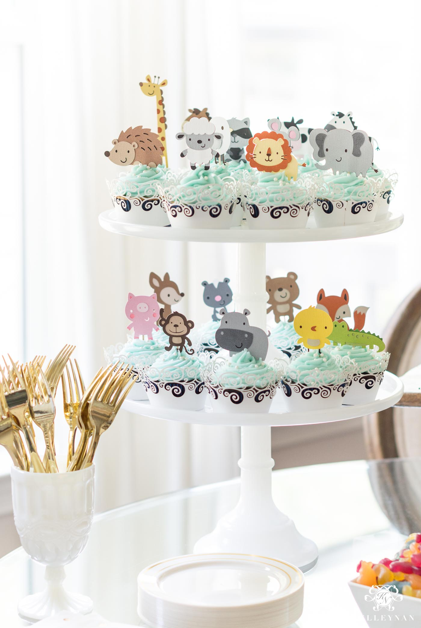 Noah's Ark themed animal cupcake tower for twin baby shower