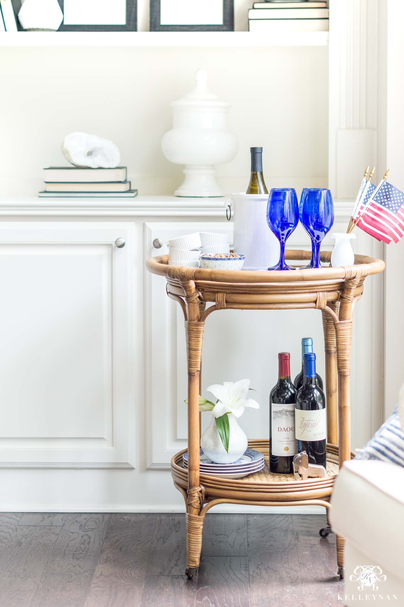 Rattan Bar Cart for the 4th of July