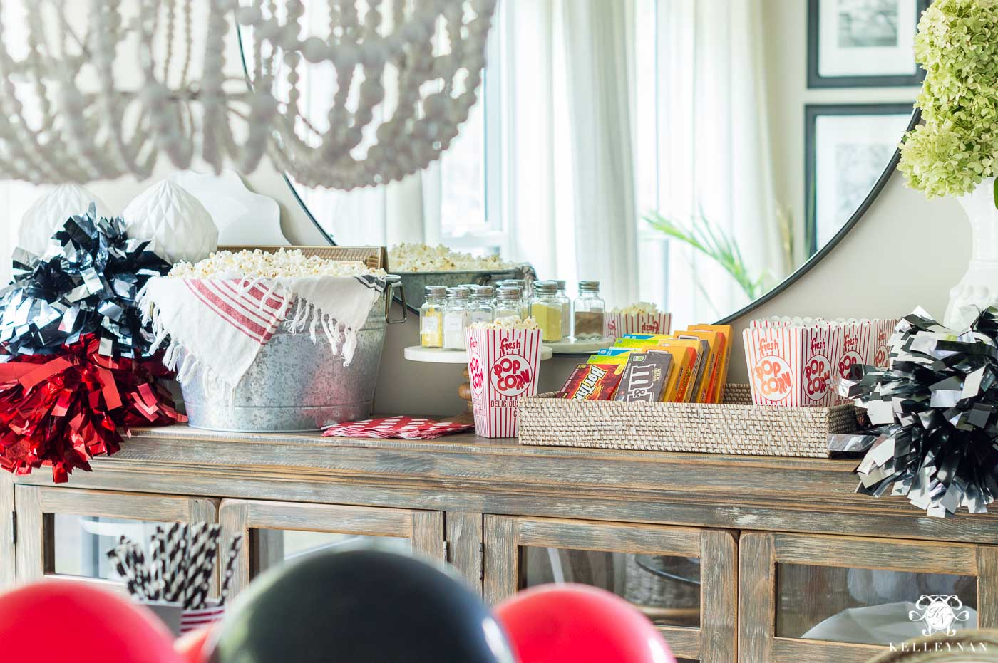 Popcorn bar ideas for at home football tailgate party