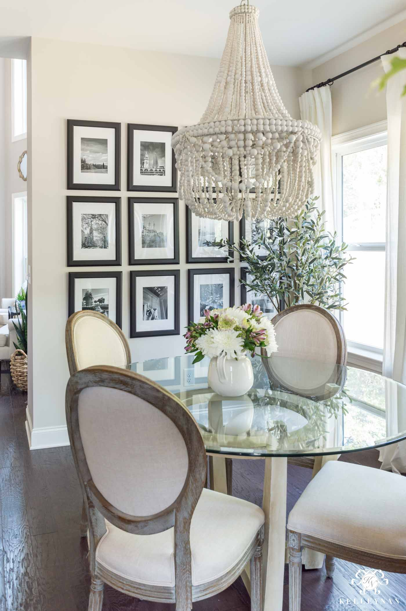 Breakfast Nook in Edgecomb Gray by Sherwin Williams with Black frame gallery Wall