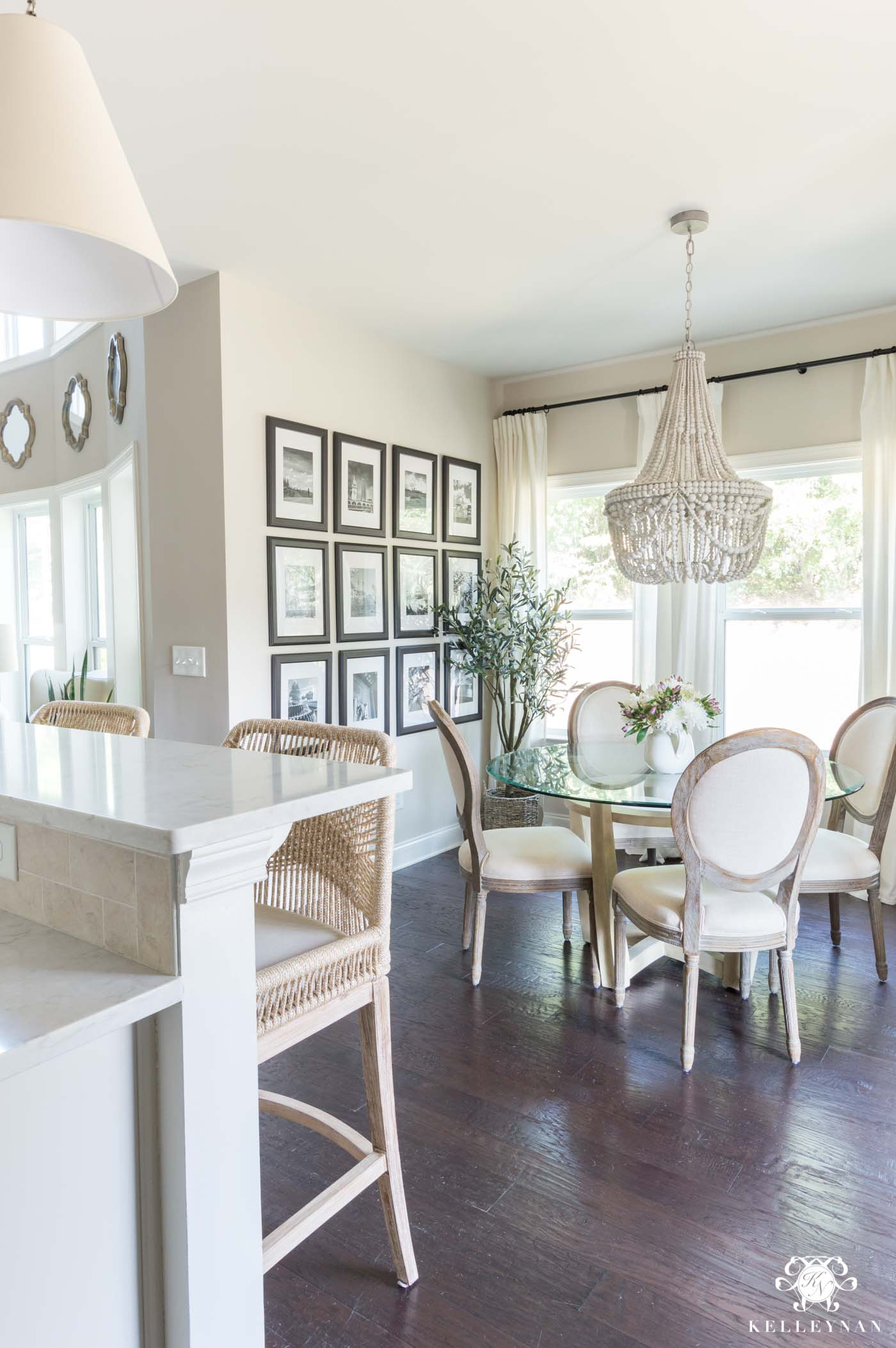 Breakfast Nook with Beaded Chandelier and Edgecomb Gray Pain