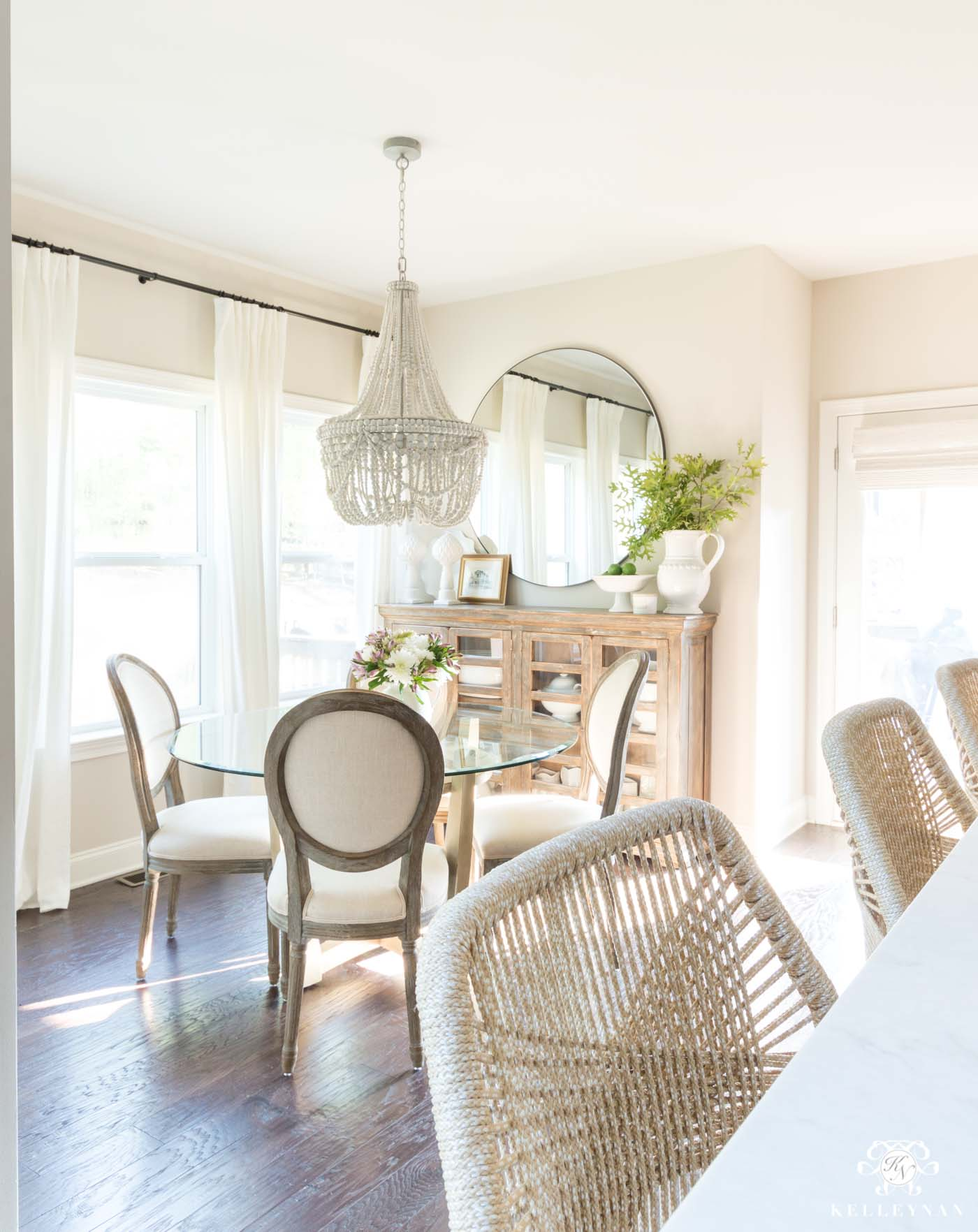 Transitional Breakfast Nook with Large Oversized Round Mirror