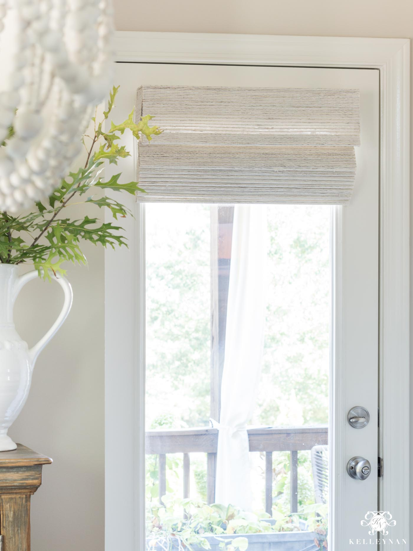 Cordless Woven Shades for a Window Door