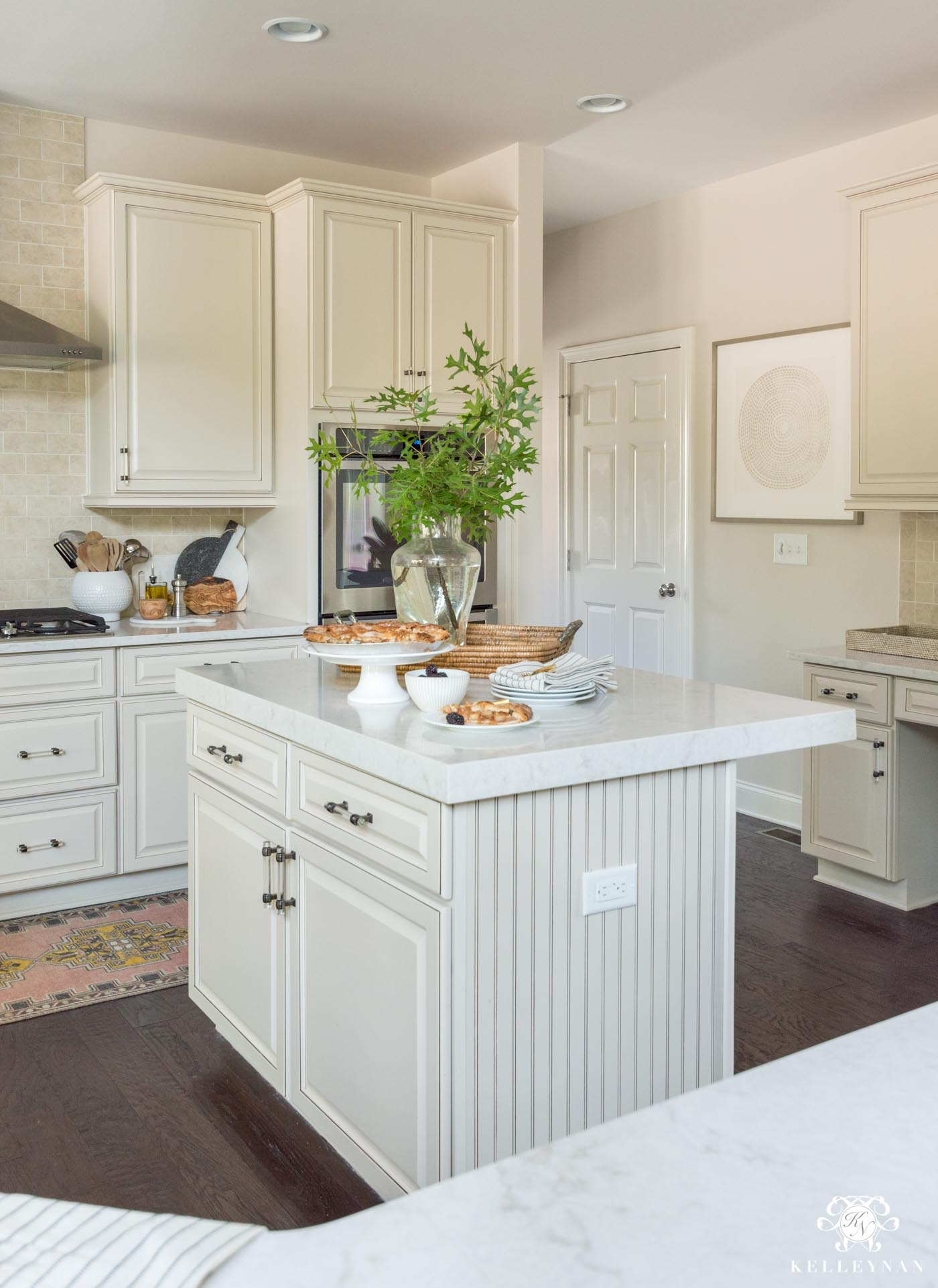 How to make a traditional kitchen with cream cabinets more modern