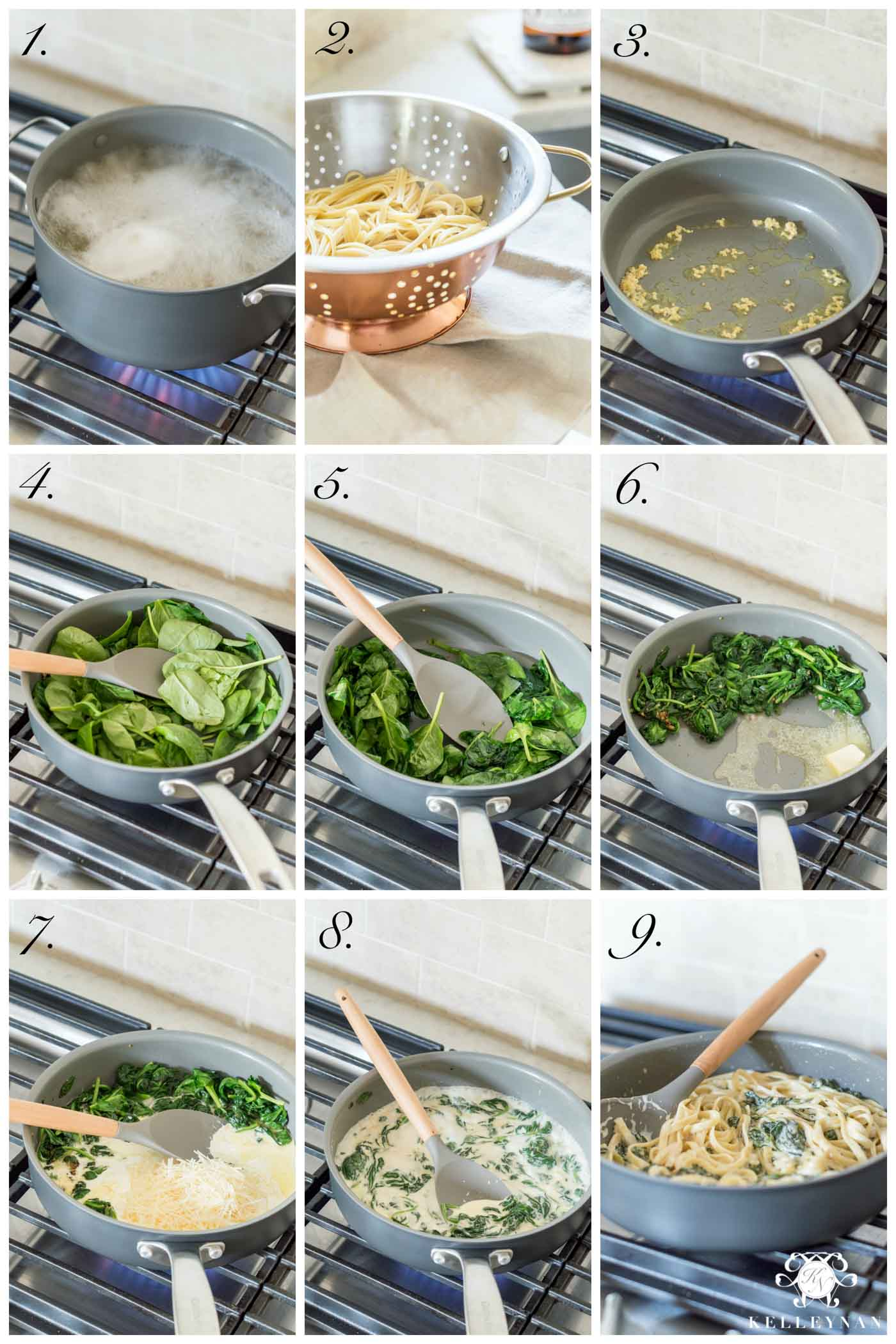 Step By Step - Easy Recipe for Spinach Fettuccine Alfredo Pasta Recipe