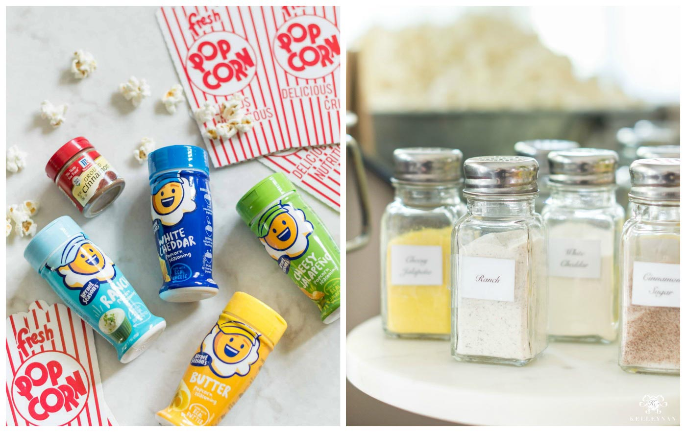 Seasoning and Topping Ideas for Popcorn Bar