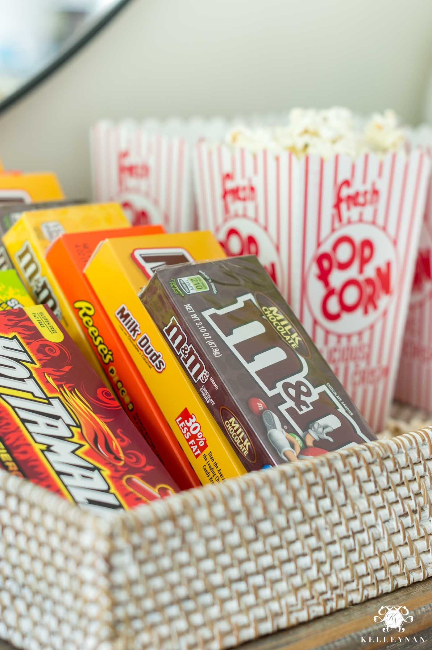 Candy and popcorn bar setup at home for afternoon football snack
