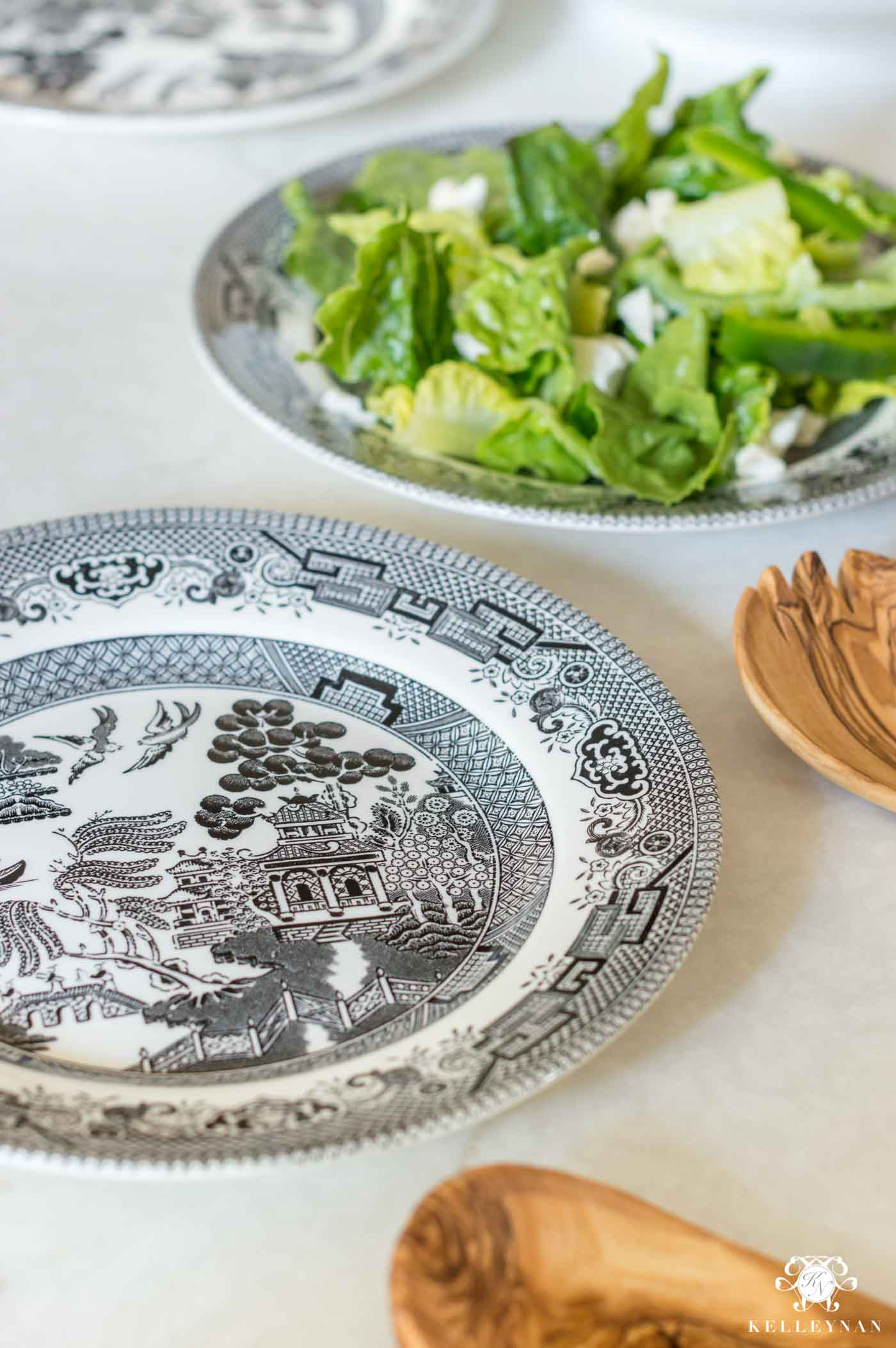 Black and White Salad Plates